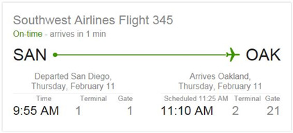 Google search screen sample with flight details