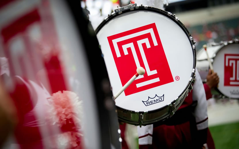 Temple T logo on bass drum