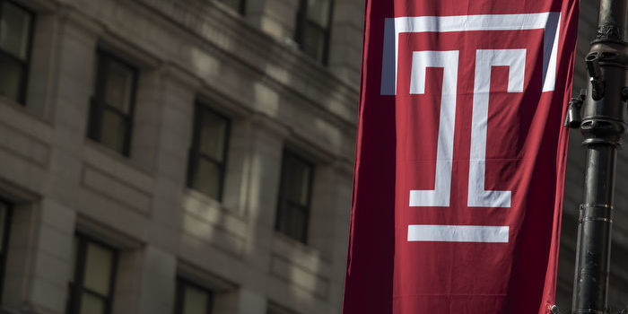 A Temple University flag in Center City Philadelphia