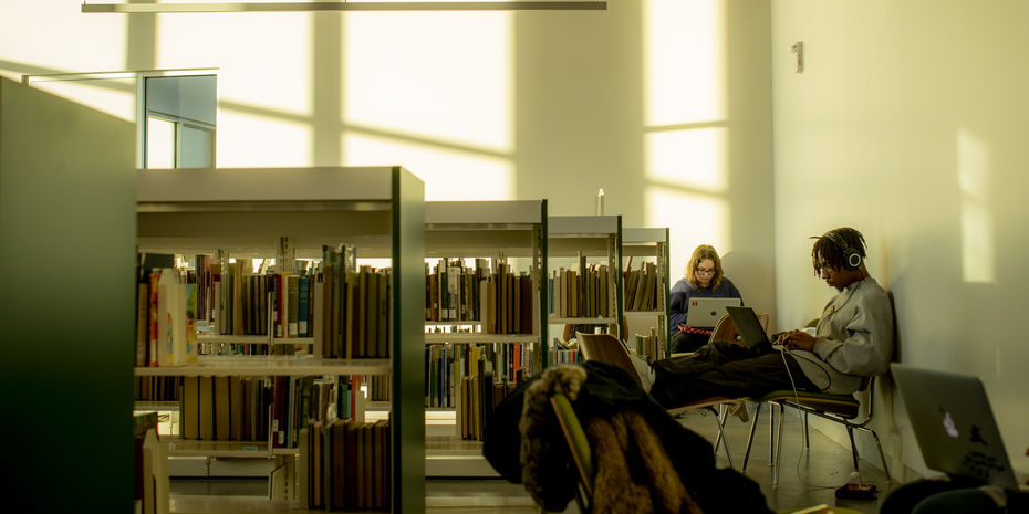 Two students studying in Charles Library