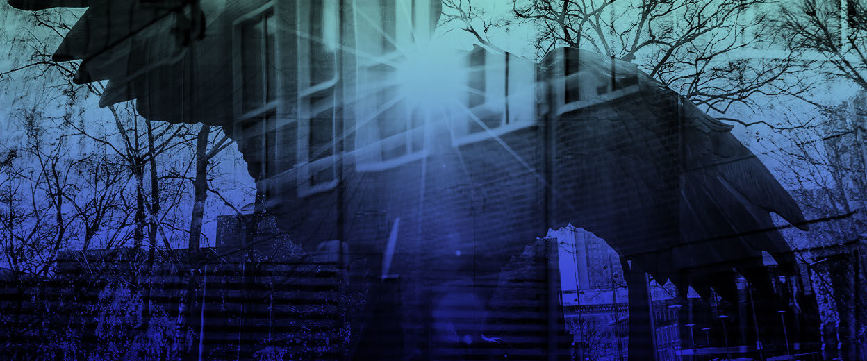 A layered image with a blue filter of Temple's main campus and the owl in O'Connor Plaza