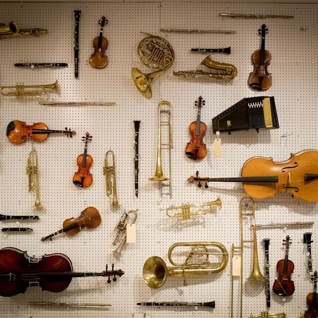 Array of instruments adorn wall in Boyer classroom at Temple