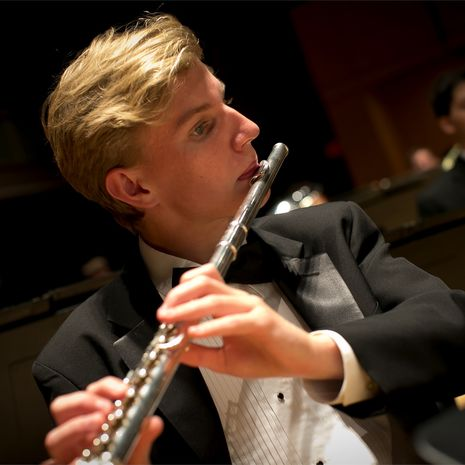 Temple jazz band member performs the clarinet