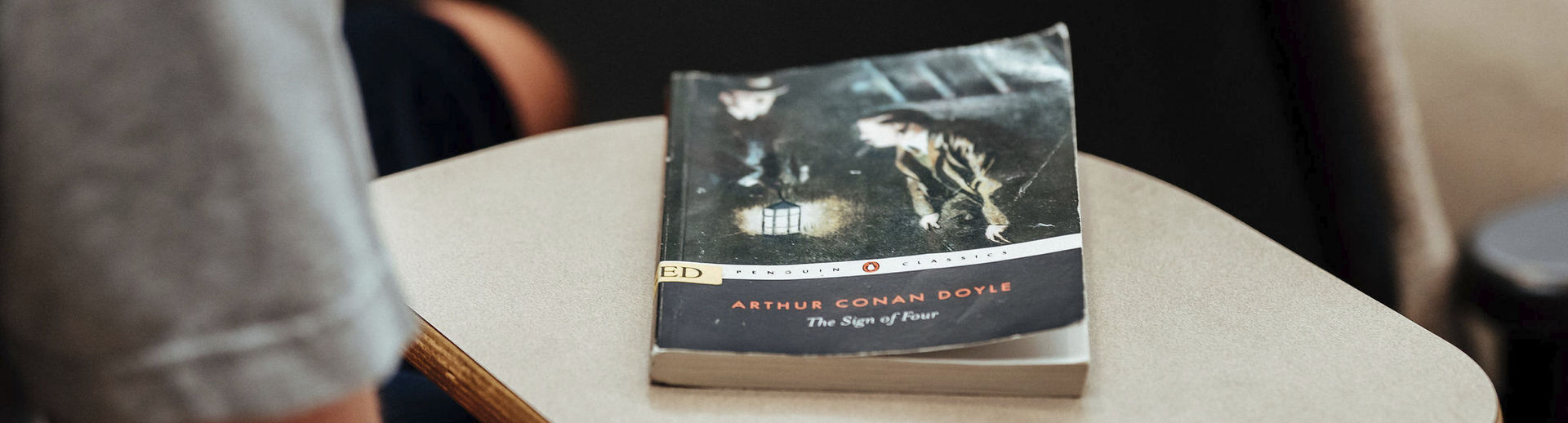 Close up a novel by Arthur Conan Doyle.