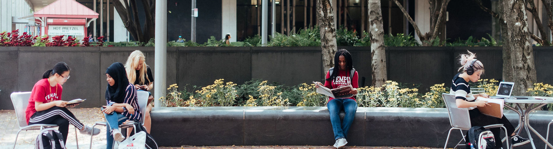 College of Liberal Arts students gather and study outside on Main Campus.