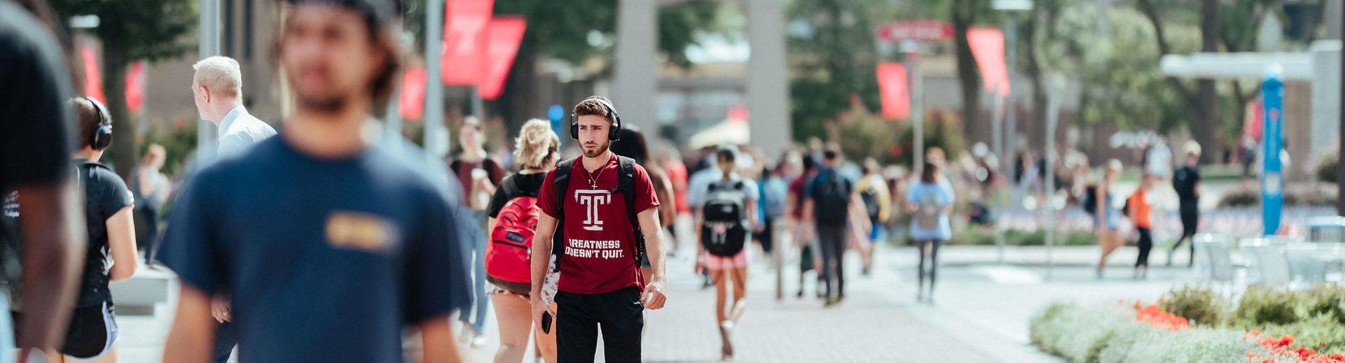 Temple students on Polett Walk on Main Campus.