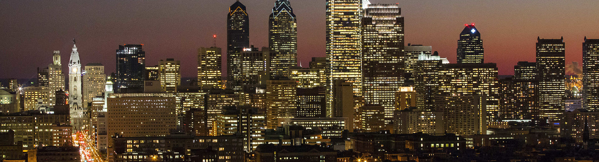 The Philadelphia center city skyline at dusk.
