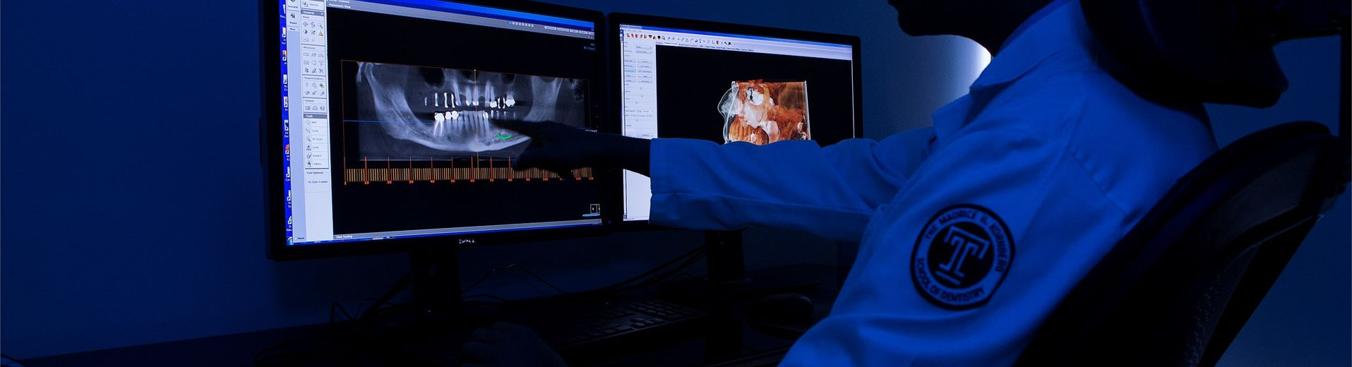 A male dental student looking at dental X-rays on a computer screen.