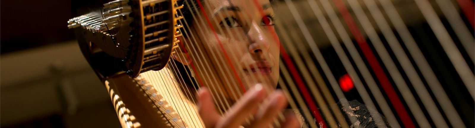 Woman playing the harp.