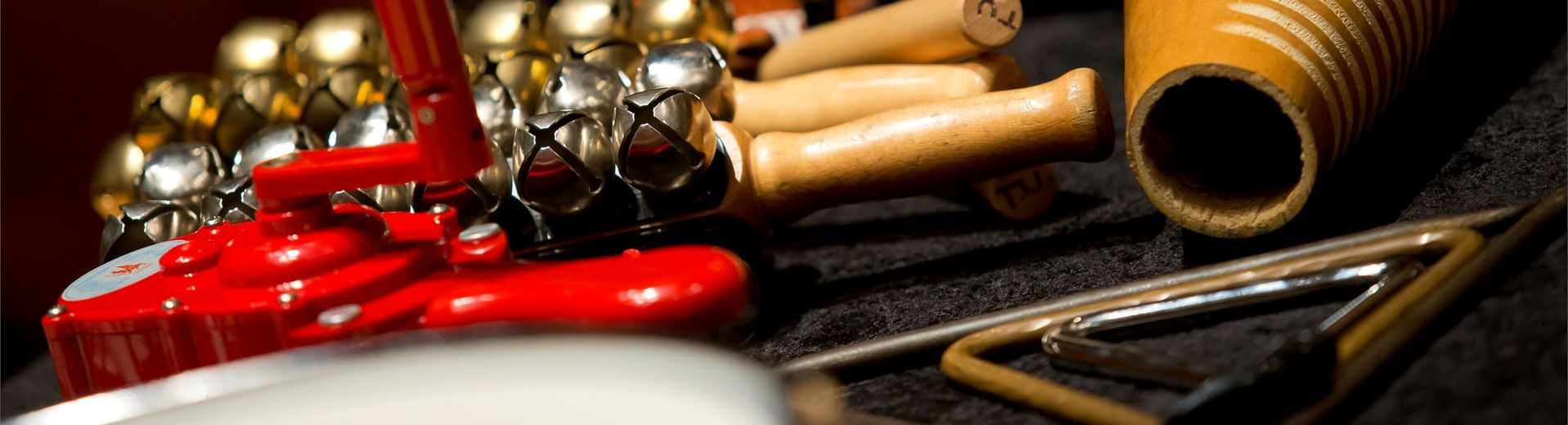 A collection of percussion instruments.