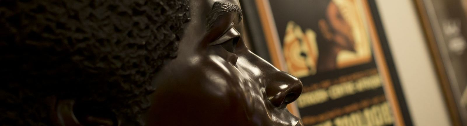 Statue of an African American man in the Charles L. Blockson Collection at Temple University.