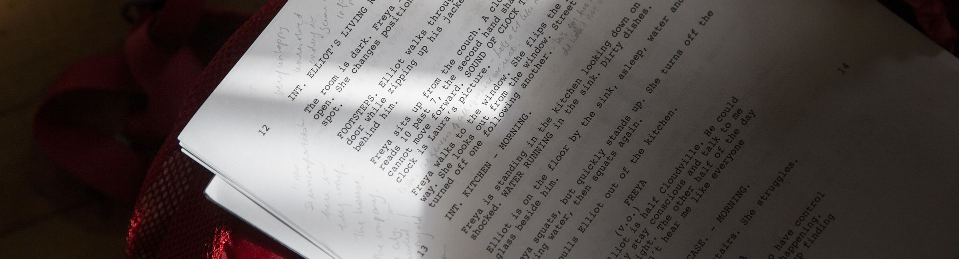 Person holding a printed theater script with handwritten notes on it.