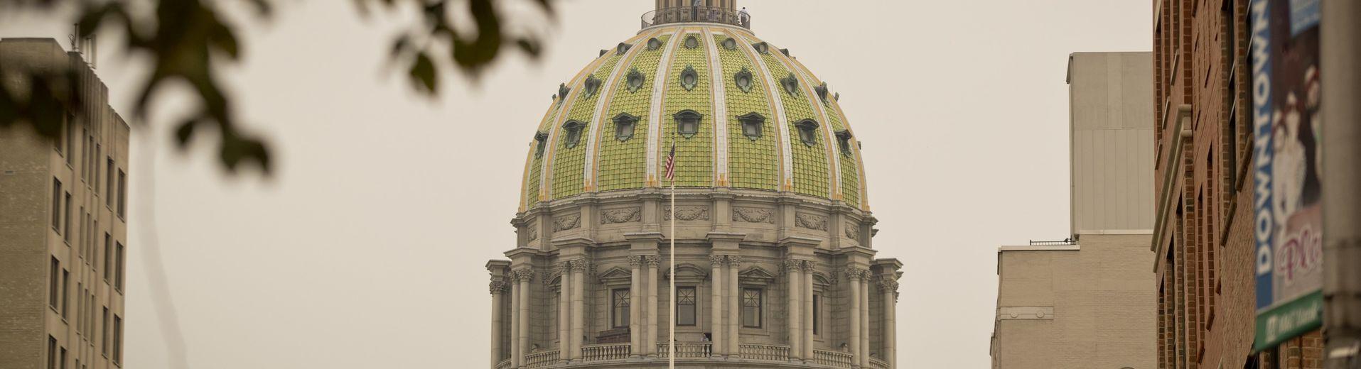 The Pennsylvania capitol building dome in Harrisburg.