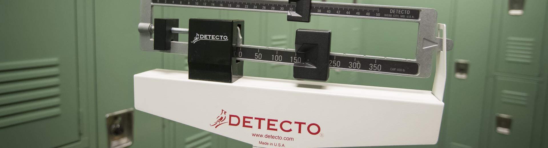 scale in a locker room