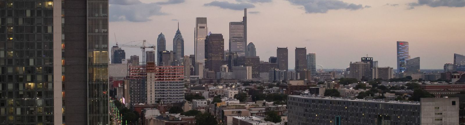 The Philadelphia skyline as seen from Temple Main Campus.