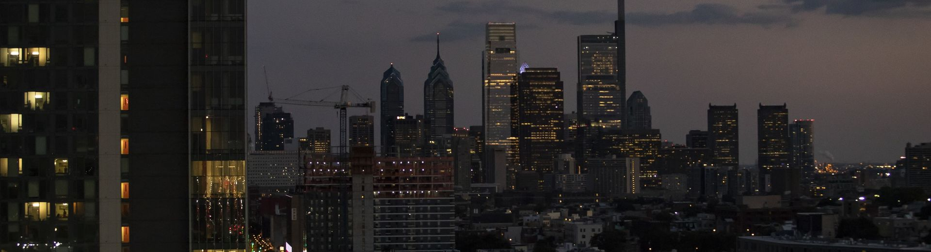 The downtown Philadelphia skyline at dusk.