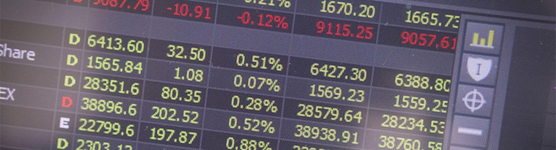 Financial data on a computer screen.