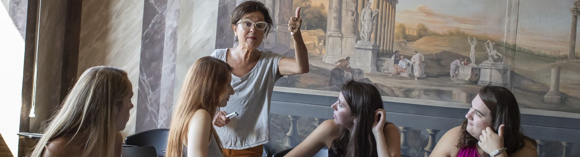 A Temple professor gives her students a lesson in the Italian language.