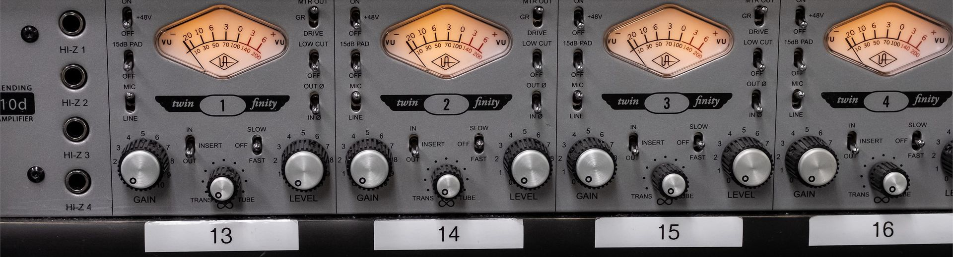 Knobs and dials of a music sound board.