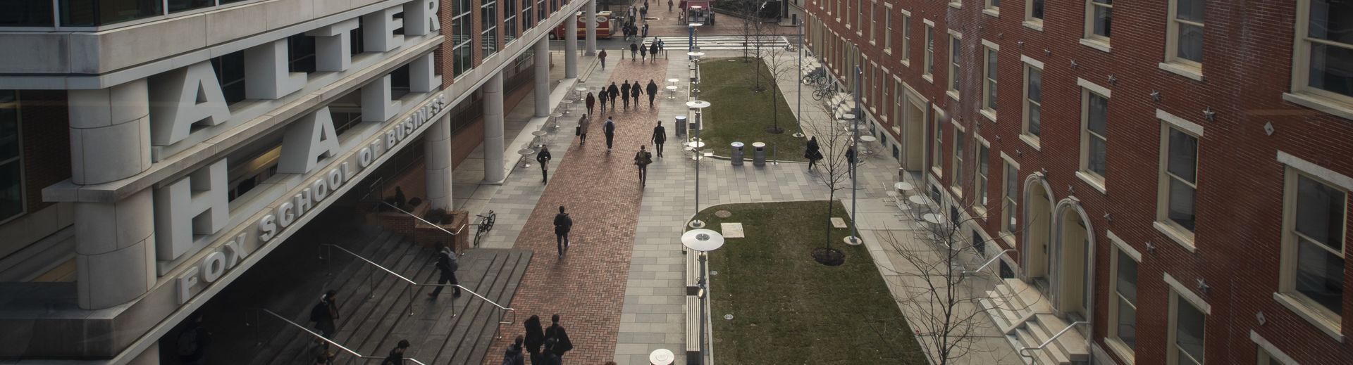 Temple University's Liacouras Walk and Alter Hall.