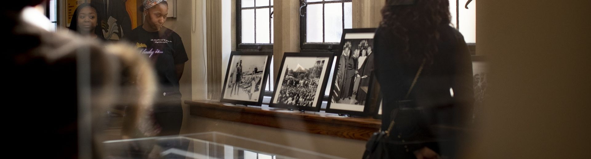 Students view a collection at the Charles Blockson Collection on campus.