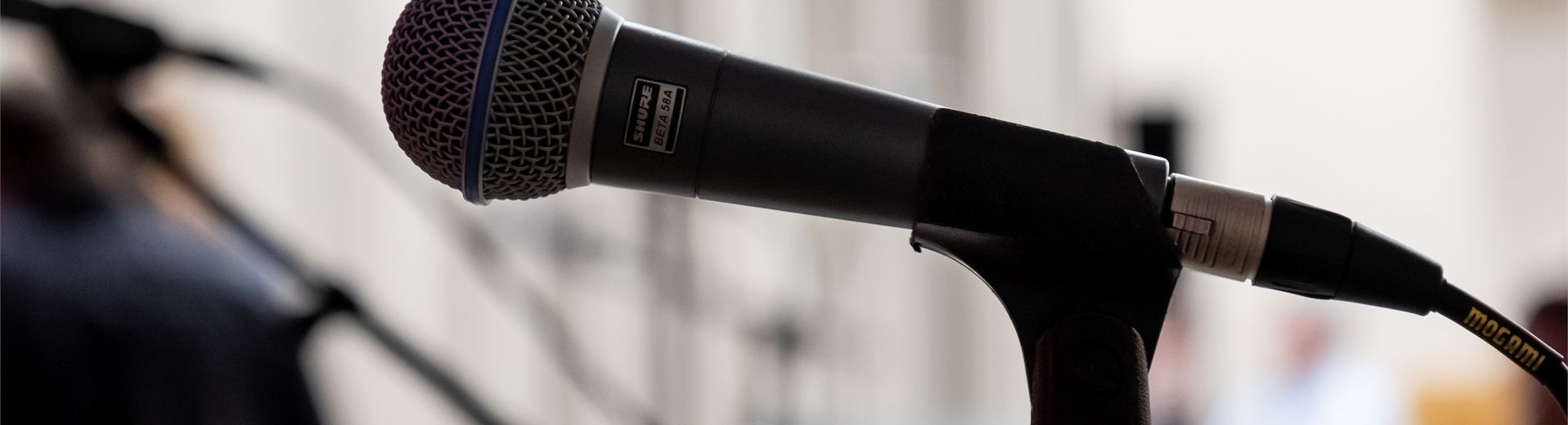Microphone on a stand in a classroom