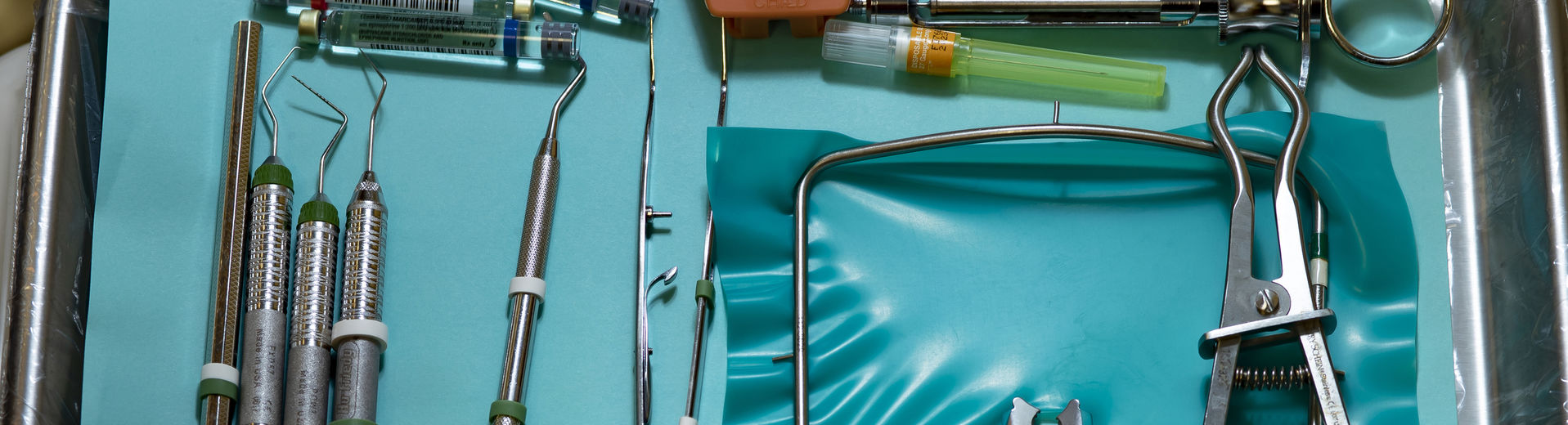 Dentistry tools arranged on a tray