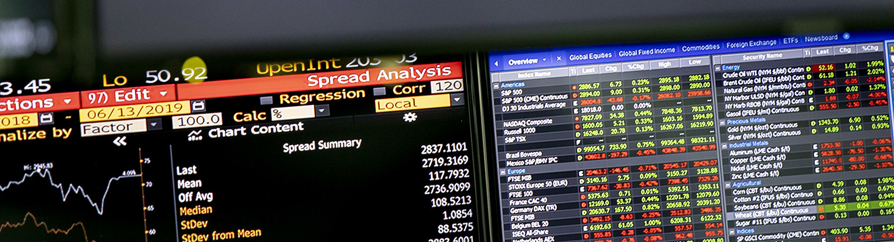 A close-up image of computer screens displaying financial information in graphs and tables