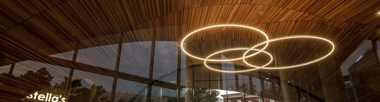 Abstract of the lighting in the lobby of Temple's Charles library.