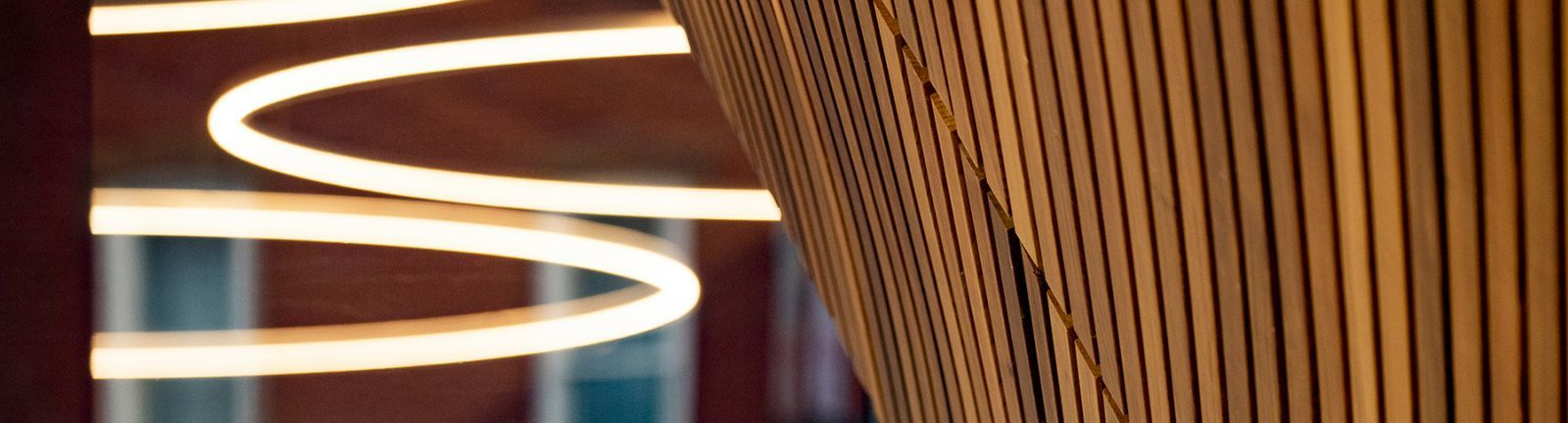 Abstract of lighting and wood elements in Temple's Charles Library.