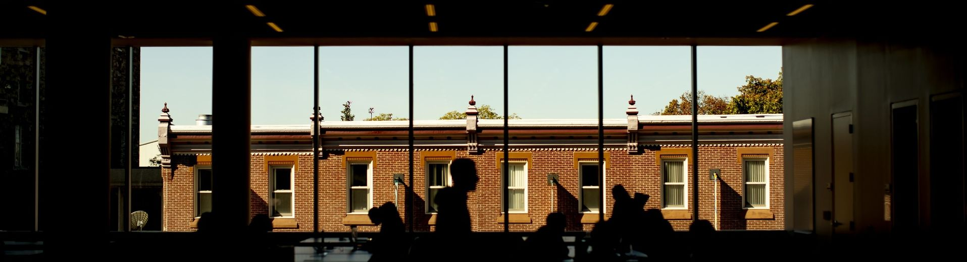 abstract image of students studying in Charles Library.