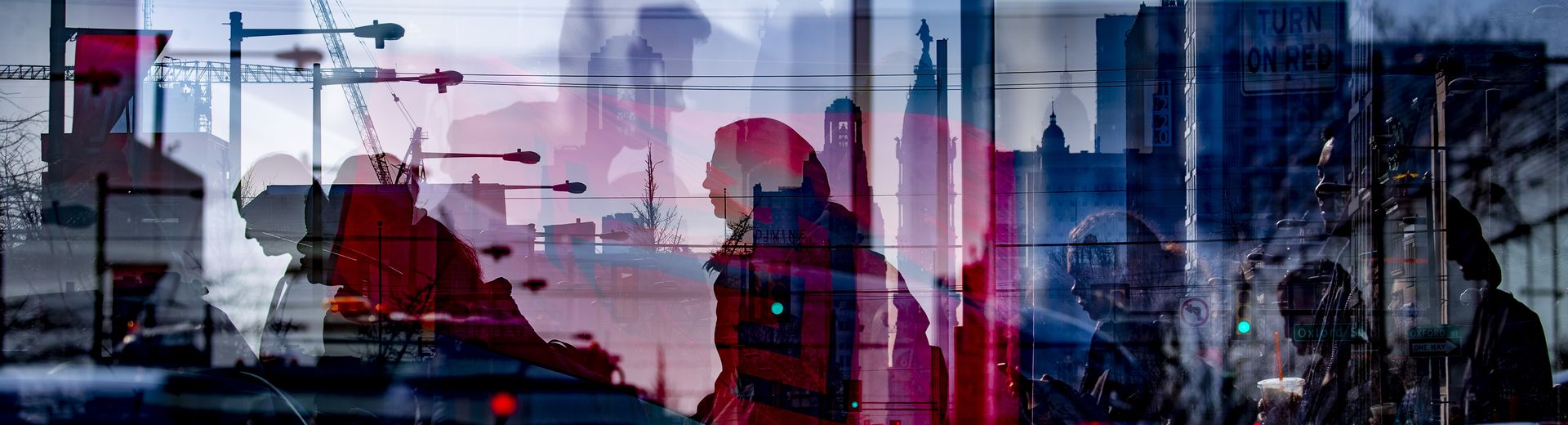 An abstract, layered image of the Temple University campus and students