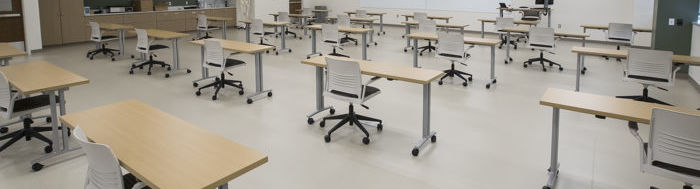 A classroom set for physical distancing.