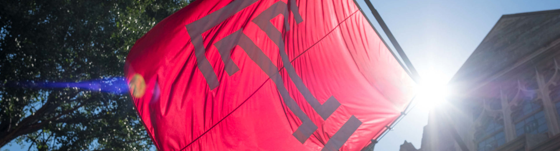 A Temple University flag flies in the summer sun.