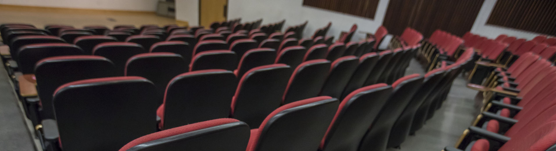 A lecture hall set for physical distancing.
