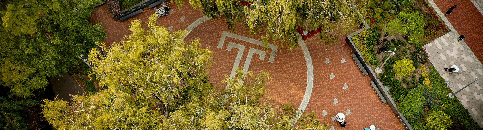 an aerial shot of a courtyard on main campus.