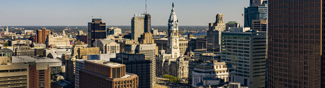 A view of Philadelphia's city hall from the parkway.