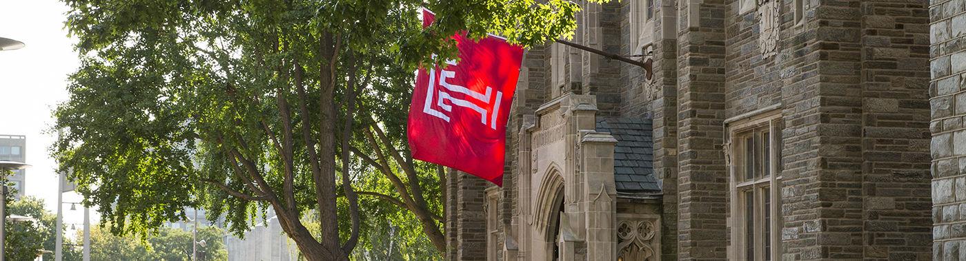 Temple flag outside Sullivan Hall
