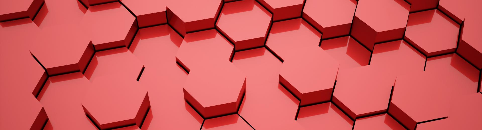 A group of hexagonal red blocks
