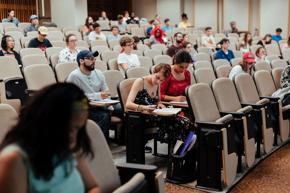 Temple students in a lecture class