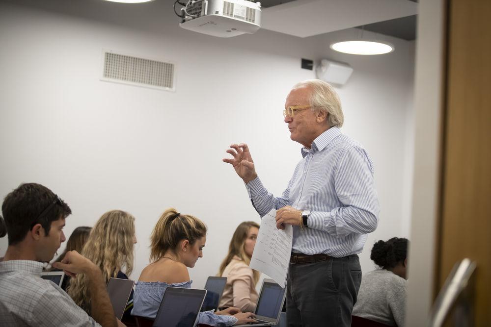 Professor instructing a class at Temple University.