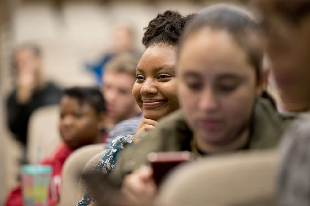 Temple students pay close attention during a lecture.