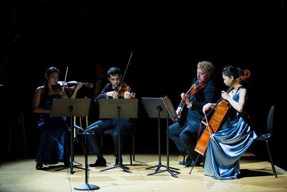 Temple Boyer students perform in a chamber orchestra.