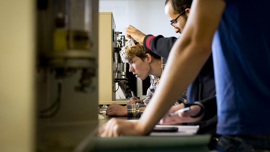 Civil Engineering students working in a lab