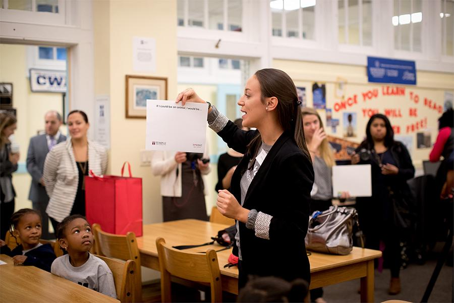 Education student student teaching in a classroom