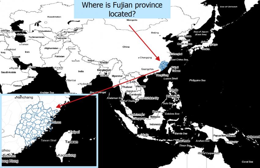 Digital map indicating Fujian temples