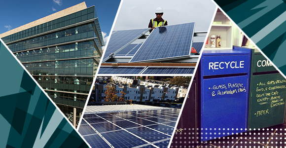 SERC Building, solar panels and recycling containers